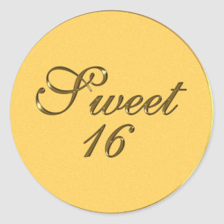 Gold Embossed look Sweet 16 Envelope Seals Fav Tag