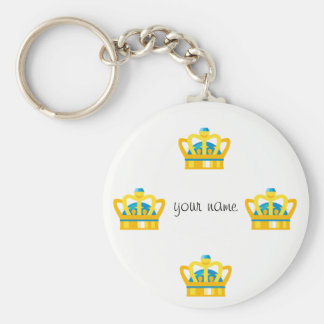 """Gold Emoji Crown   and '' Your Name Here """" Key Ring"""
