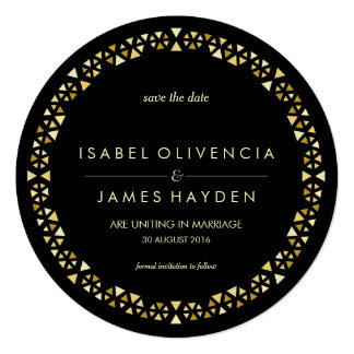 Gold Encrusted Band Save the Date Card