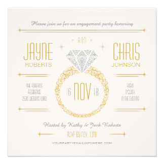 Gold Engagement Ring Party Invitation