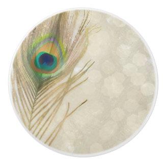 Gold Exotic Peacock Feather Glam Elegant Chic Ceramic Knob