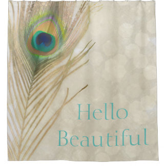 Gold Exotic Peacock Feather Glam Elegant Chic Shower Curtain