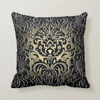 "Gold Fade ""Mock Flock"" Floral Pattern Cushion"