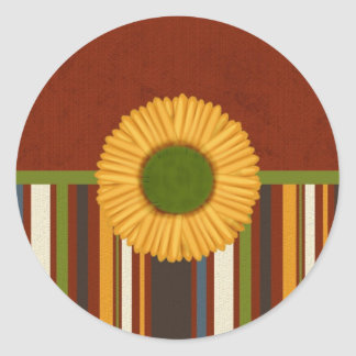 Gold Fall Flower with Stripes Stickers