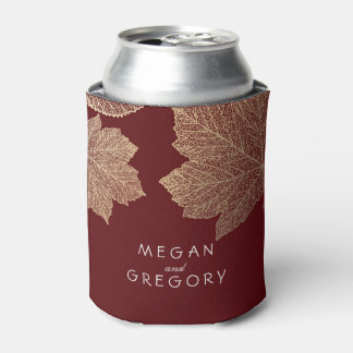 Gold Fall Leaves Burgundy Rustic Wedding Can Cooler