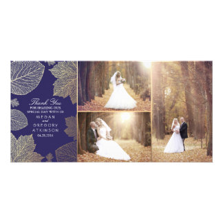 Gold Fall Leaves Navy Wedding Photo Thank You Personalised Photo Card