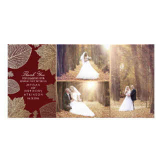 Gold Fall Leaves Wedding Photo Thank You Card