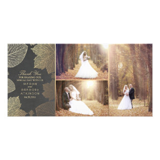 Gold Fall Leaves Wedding Photo Thank You Photo Cards