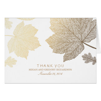 Gold Fall Leaves White Wedding Thank You Note Card