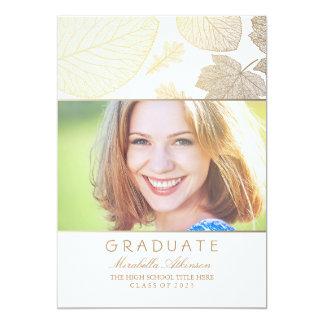 Gold Fall White Photo Graduation Card