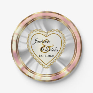 Gold & Faux Diamond & Rose Wedding or Anniversary Paper Plate