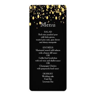 Gold, Faux Foil Bubbles, Stylish, Custom Menu 10 Cm X 24 Cm Invitation Card
