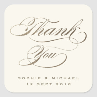 Gold faux foil calligraphy thank you stamp square sticker