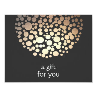 Gold Faux Foil Circles Salon Gift Certificate 11 Cm X 14 Cm Invitation Card