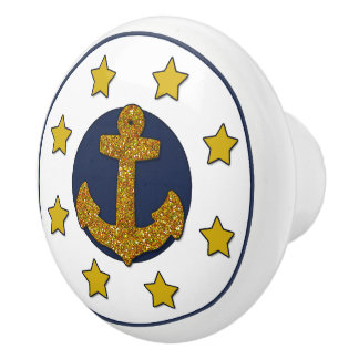 Gold Faux Glitter Anchor | Gold Stars Nautical Ceramic Knob