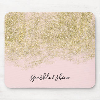 Gold Faux Glitter Blush Pink Sparkle Mouse Pad
