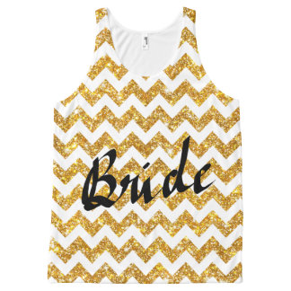 Gold Faux Glitter Chevron Pattern Girly Bride All-Over Print Singlet