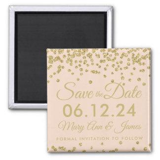 Gold Faux Glitter Confetti Save The Date Blush Magnet