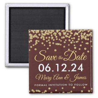 Gold Faux Glitter Confetti Save The Date Marsala Magnet