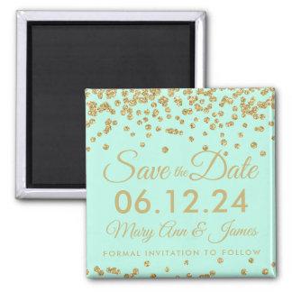 Gold Faux Glitter Confetti Save The Date Mint Magnet
