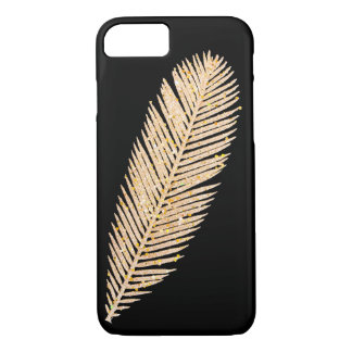 Gold Faux Glitter Feather iPhone 8/7 Case