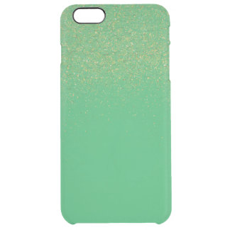 Gold Faux Glitter Green Apple Clear iPhone 6 Plus Case