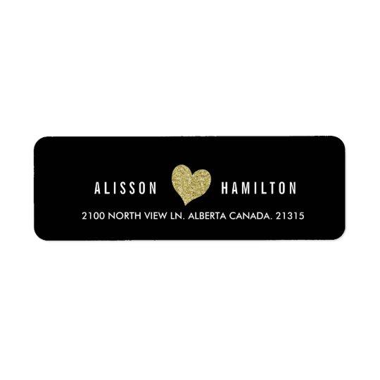 Gold Faux Glitter Heart on Black | Return Address Return Address Label