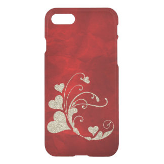 Gold Faux Glitter Heart Swirl on Red iPhone 7 Case