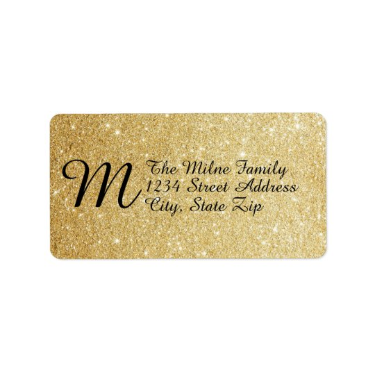 Gold Faux Glitter Monogram Address Labels