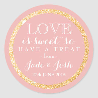 Gold Faux Glitter on ANY COLOR Wedding Favor Label Round Sticker