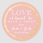 Gold Faux Glitter on ANY COLOR Wedding Favour Round Sticker