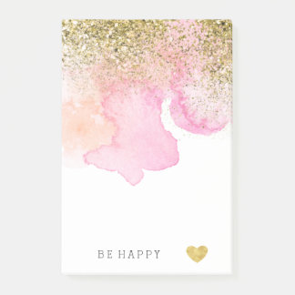 Gold Faux Glitter Pink Peach Watercolor Post-it Notes
