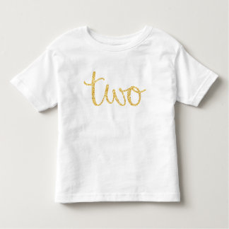 Gold Faux Glitter Script 2nd Birthday Toddler T-Shirt