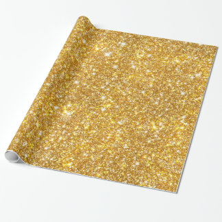 Gold Faux Glitter Shining Pattern Girly Wrapping Paper