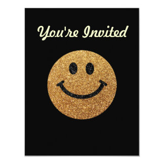 Gold faux glitter smiley face card