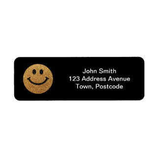 Gold faux glitter smiley face return address label