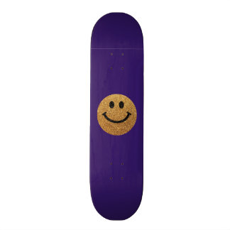 Gold faux glitter smiley face skateboard deck