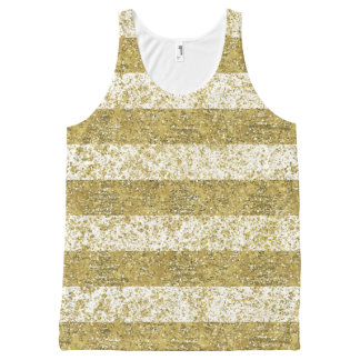 Gold Faux Glitter Stripes All-Over Print Singlet