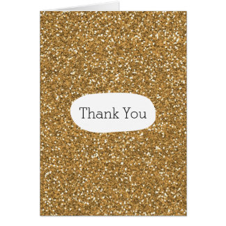 Gold faux Glitter Thank You Card