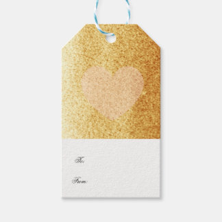 Gold Faux Glitter With Delicate Heart Gift Tags