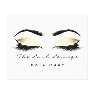 Gold Faux Makeup Artist Beauty Browns Lashes Canvas Print