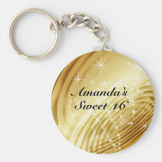 Gold, Faux Satin, Sparkle, Sweet Sixteen Basic Round Button Key Ring