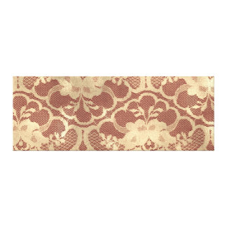 Gold Faux Sepia Royal Lace Burgundy Maroon Red Canvas Print