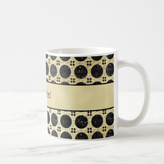 Gold Faux & Sparkly Black Glitter Spots Coffee Mug