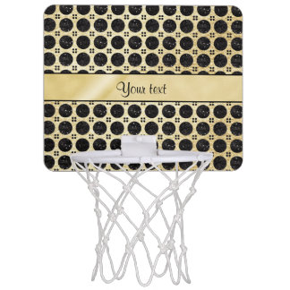 Gold Faux & Sparkly Black Glitter Spots Mini Basketball Hoop