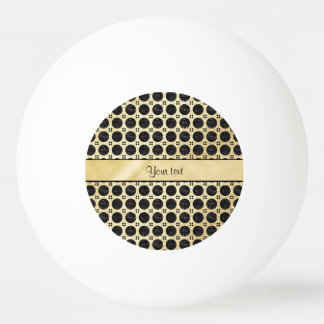 Gold Faux & Sparkly Black Glitter Spots Ping Pong Ball