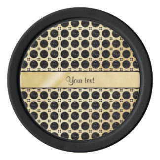 Gold Faux & Sparkly Black Glitter Spots Poker Chips