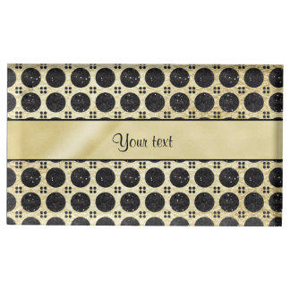 Gold Faux & Sparkly Black Glitter Spots Table Card Holder