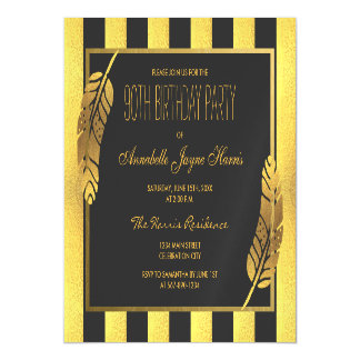Gold Feather and Black Stripes 90th Birthday Party Magnetic Invitations