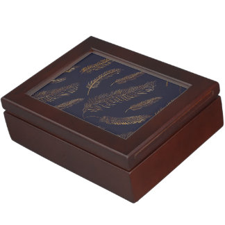 Gold Feather Motif Keepsake Box